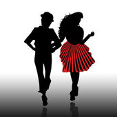 Silhouette of boys and girls — Stock Photo