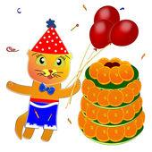 Birthday. Kitten. Cake. Balloons. — Stock Photo