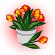 A bucket of flowers tulips — Stock Photo