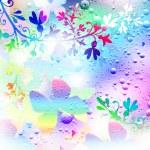 Фон из бабочек, цветов и капелек до — Stock Photo #25335127