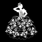 Silhouette of a girl in a dress with flowers — Stock Photo