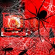Stock Photo: Spider and cobweb. Background.