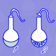 Flask. Chemical reaction. — 图库照片