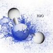 Stock Photo: Formula of water. Molecule.