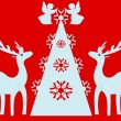 Christmas tree, angels, reindeer. Red background. — Foto Stock