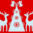 Christmas tree, angels, reindeer. Red background. — Zdjęcie stockowe