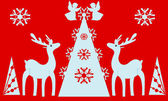 Christmas tree, angels, reindeer. Red background. — Stock Photo