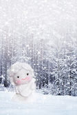 Angel on background of a winter landscape. — Stock Photo