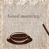 Una tazza di caffè e un pezzo di carta. desiderio. — Foto Stock