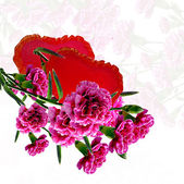 Flowers and hearts — Stock Photo