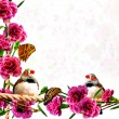 Background of flowers, butterflies and birds — Stock Photo #41553261