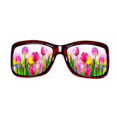 Glasses, flowers. — Stock Photo