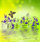 Floral background of flowers bluebells — Stock Photo