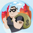 Bank Robber — Stock Vector