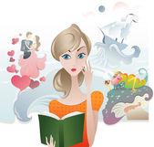 Cute Girl reading a Book — Stock Vector