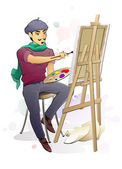 Artist at Work — Stock Vector