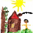 Child's Drawing Me and My Home — Stock Photo