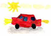 Child's Drawing Car — Stock Photo