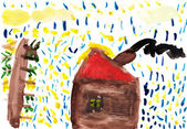 """Child's Drawing """"My Home"""" — Stock Photo"""