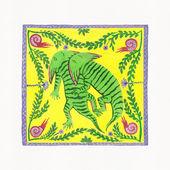 Illustration of Dinosaurs (Diplocaulus). Gouache on Paper — Stock Photo