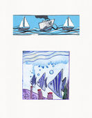 Watercolor illustrations of Sea Themes — Stock Photo