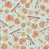 Nahtlose vintage muster mit blumen und libellen — Stockvektor