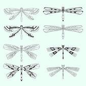 Vector set of dragonflies — Stock Vector