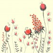 Stock vektor: Hand drawn cute background with flowers