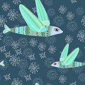 Winter seamless pattern with flying fishes — Stock Vector