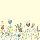 Hand drawn cute background with flowers — Wektor stockowy