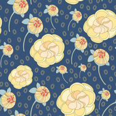 Seamless retro pattern with flowers — Stock Vector
