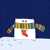 кошка с рождественский носок — Cтоковый вектор