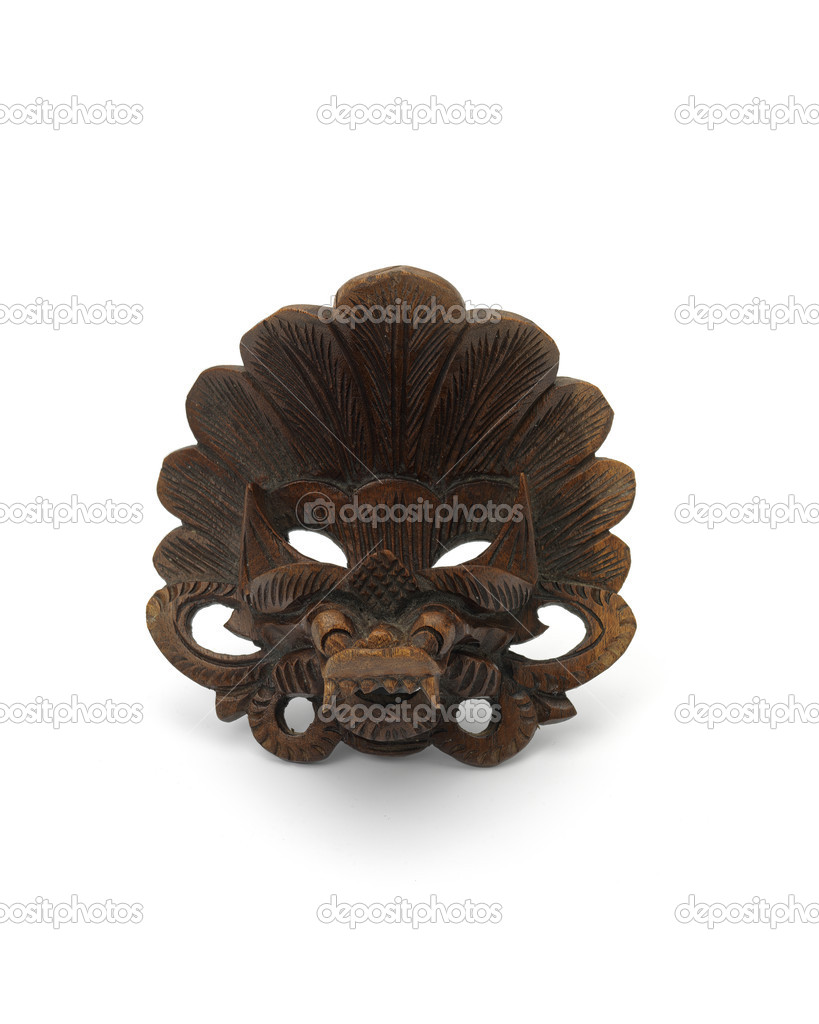 Brown antic mask on white background — Stock Photo #13176921