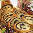 Milk loaf with chocolate and dried sour cherry — 图库照片