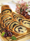 Milk loaf with chocolate and dried sour cherry — Stock Photo