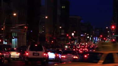 Traffic jam, New York City, night shot