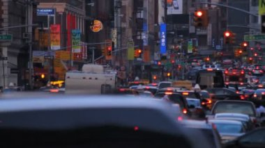 Traffic Jam, evening, New York City — Stock Video