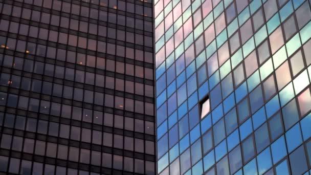 Gros plan, entreprise de bâtiment, nyc — Vidéo
