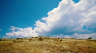 Hilly cloudy landscape in summer — Stock Video