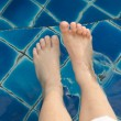 Foot soaked in water. — 图库照片