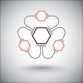 Drie kleine cellen zijn verbonden met de belangrijkste oranje — Stockvector