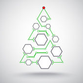 Christmas tree hexagonal cells — Wektor stockowy