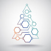 Christmas tree hexagonal cells gradient — Stock Vector