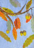 Twig oak — Stock Vector