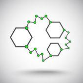 Asymmetric links gray-green — Stock Vector