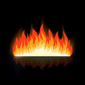Vector fire with reflection — Stock Vector