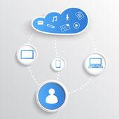 Technologie chmury niebieski — Wektor stockowy