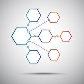 Connection of the seven hexagonal cells. Gradient — Stock Vector