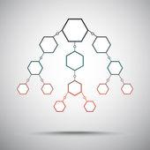 Vertical scheme of hexagons — Stock Vector