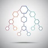 六角形の垂直方式。グラデーション — ストックベクタ